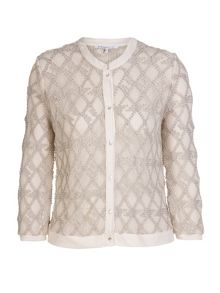 Plus size sheer organza printed jacket