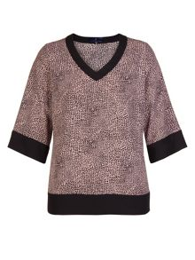 Xandres xline Animal printed two-tone blouse