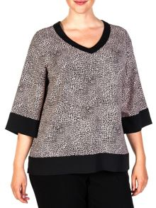 Animal printed two-tone blouse