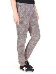 Animal printed two-tone fluid trousers