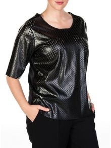 Xandres xline Perforated wool eco leather top