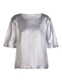 Silver printed knitted jumper