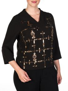 Luxurious sequined crepe top