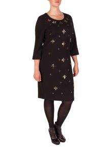Xandres xline Plus Size Luxurious bejewelled crepe dress