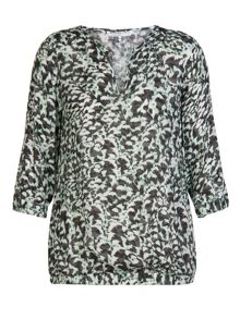 Feather printed cropped tunic