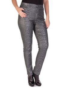 Silver printed denim 5-pocket