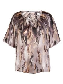 Xandres xline Silk drapy tunic with feather print