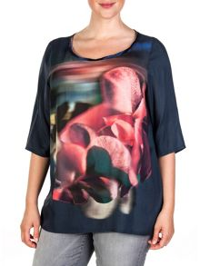 Xandres xline Winter violets printed tunic