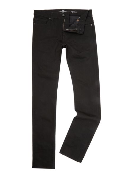 7 For All Mankind Ronnie Skinny Rinse Black Stretch Jeans