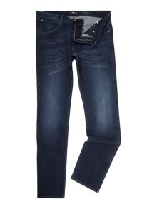 7 For All Mankind `Slimmy` Luxe Performance Blue-Black Stretch Jean