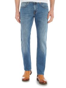 7 For All Mankind The Straight `NY` Medium Wash Stretch Jeans