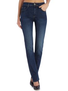 Secret high waist push in straight jean dark wash
