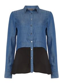 Macedonia long sleeve denim colour block shirt