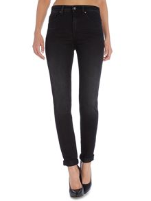 Carrie high waist push in skinny jean in black
