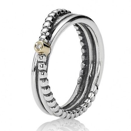Pandora Sterling silver and 14ct gold crossover ring