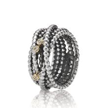 Pandora Sterling Silver, 14ct Gold and Diamond Ring