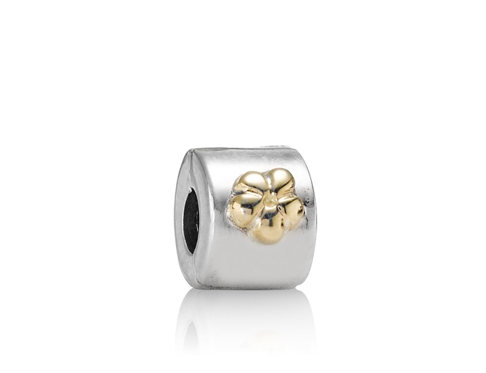 Pandora Sterling Silver and 14ct Gold Flower Clip