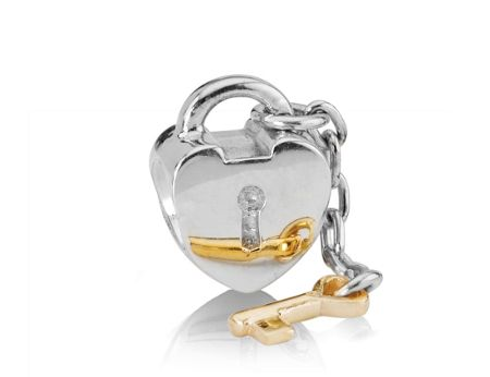 Pandora Sterling Silver and 14ct Gold Lock and Key Charm