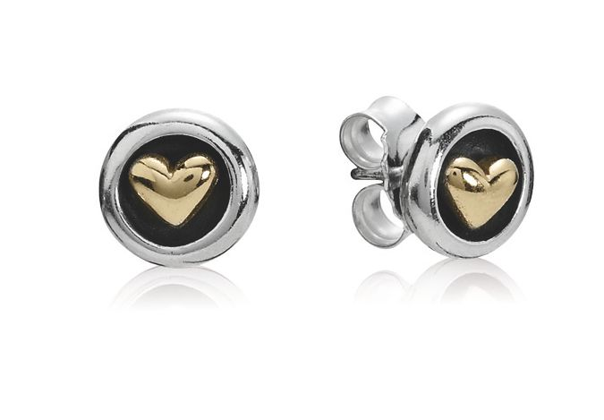 Sterling Silver and 14ct Gold Heart Stud Earrings