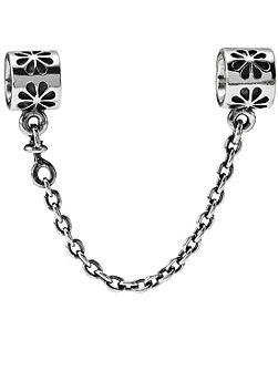 Sterling Silver Flower Safety Chain