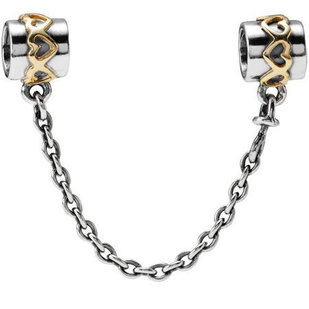Pandora Sterling Silver 14ct Gold Safety Chain - 5cm