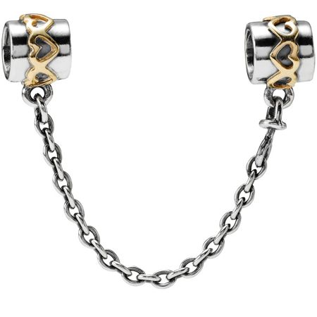 Pandora Sterling Silver 14ct Gold Safety Chain - 6cm