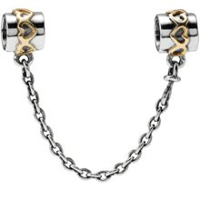 Sterling Silver 14ct Gold Safety Chain - 4cm