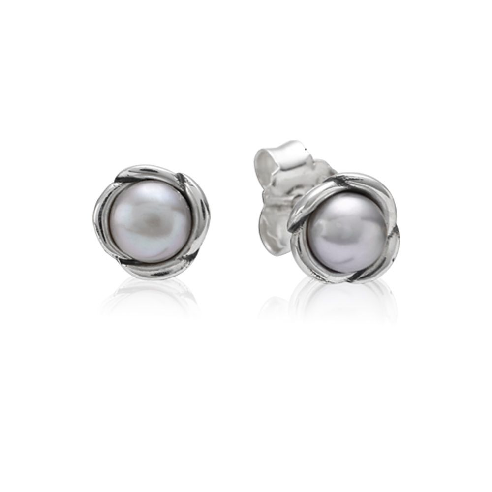 Sterling Silver and Grey Pearl Stud Earrings