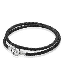 Pandora Double Woven leather and Sterling Silver Bracelet