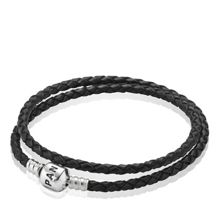 Pandora Black Double Woven Leather 38cm Bracelet