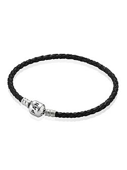 Black Single Woven Leather 17.5cm Bracelet