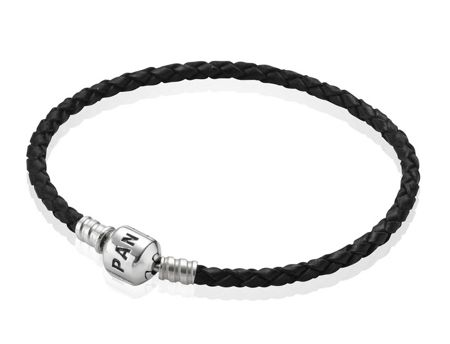 Pandora Black Single Woven Leather 17.5cm Bracelet