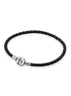Black Single Woven Leather 19cm Bracelet