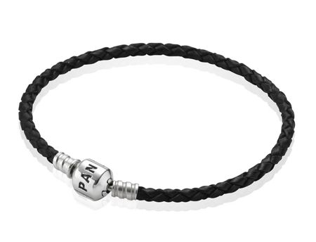 Pandora Black Single Woven Leather 19cm Bracelet