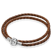 Brown Double Woven Leather 41cm Bracelet