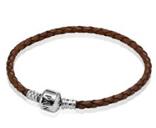 Brown Single Woven Leather 19cm Bracelet