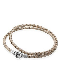 Pearl Double Leather 35cm Bracelet