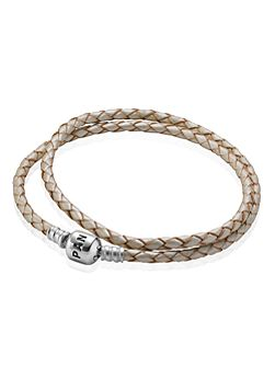 Pandora Champagne Double Leather 38cm Bracelet