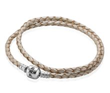 Pandora Champagne Double Leather Bracelet - 41cm