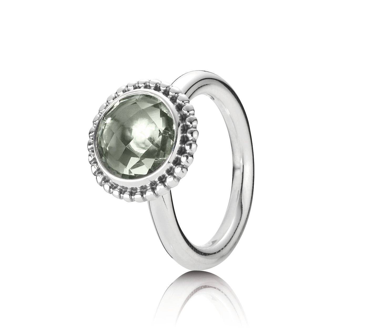 Green quartz silver ring