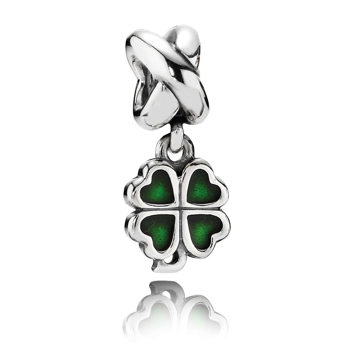 Sterling Silver and Enamel Clover Dangle Charm