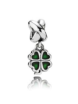 Pandora Sterling Silver and Enamel Clover Dangle Charm
