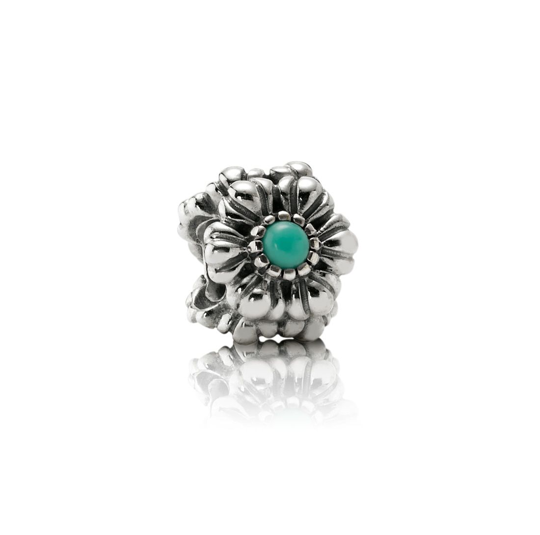 Sterling Silver and Turquoise December Charm
