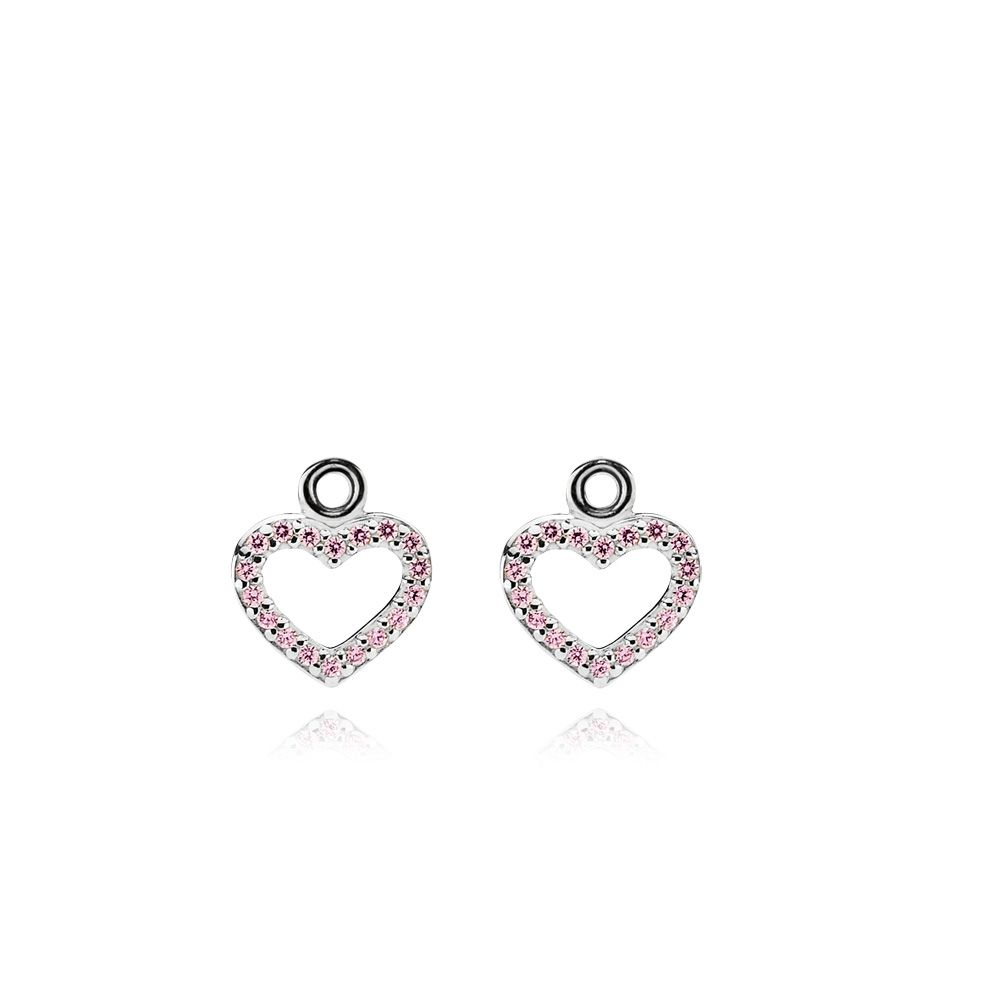 Sterling Silver and Pink CZ Heart Earrings