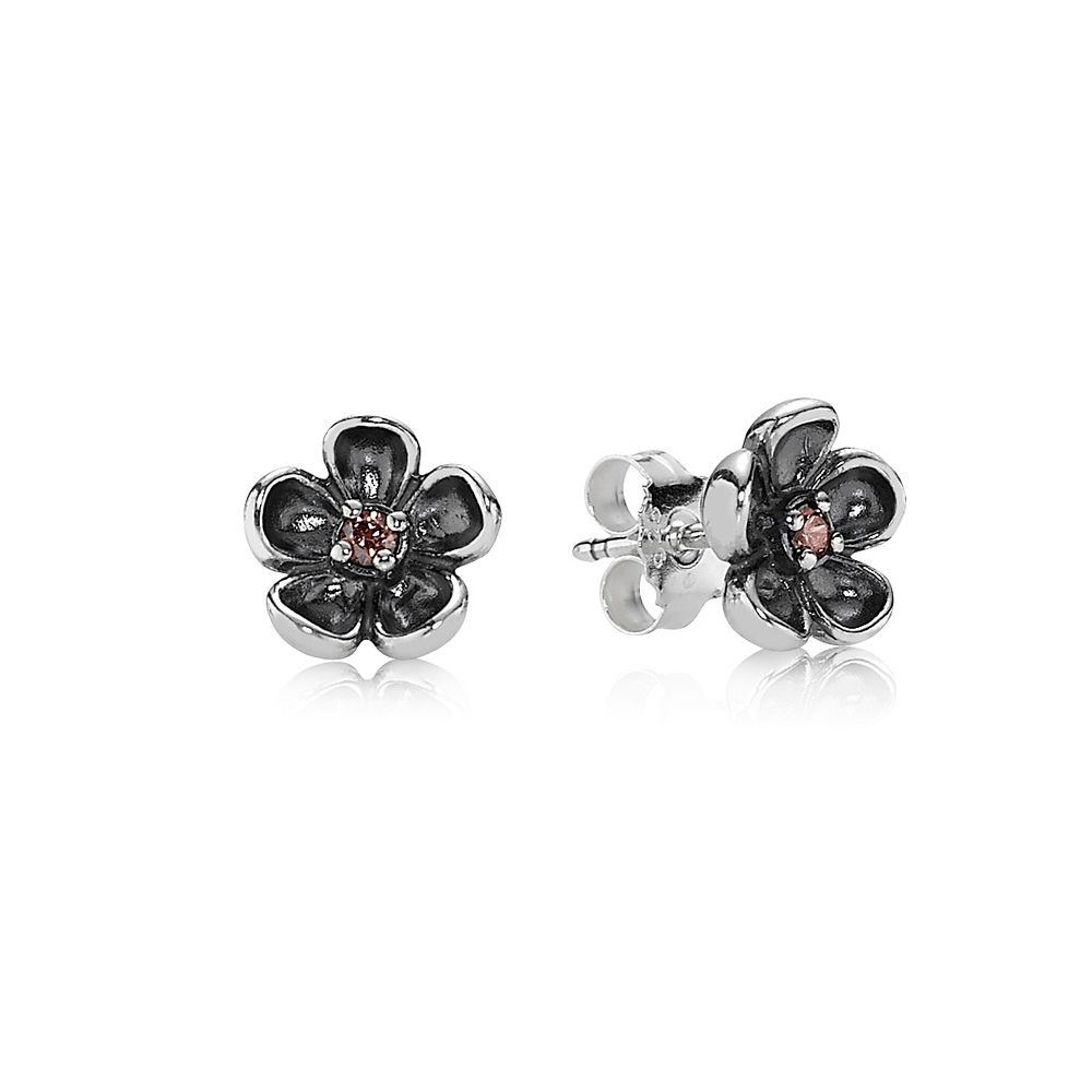 Sterling Silver and Cubic Zirconia Flower Earring