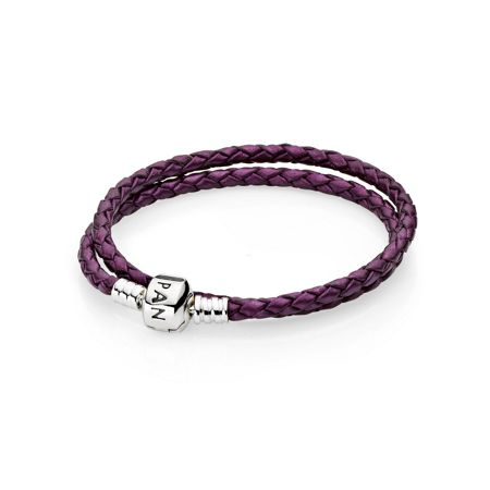 Pandora Purple Double Woven Leather Bracelet - 38cm