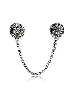 Pandora Sterling Silver 14ct Gold Flower Clip Chain