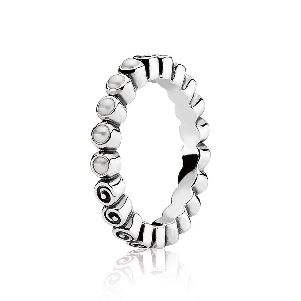 Pandora Sterling Silver and Pearl Ring, White