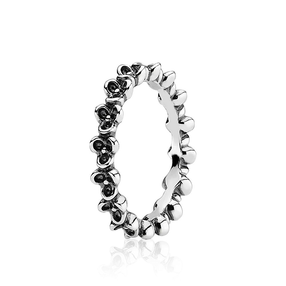 Pandora Oxidised Sterling Silver Flower Ring, Silver