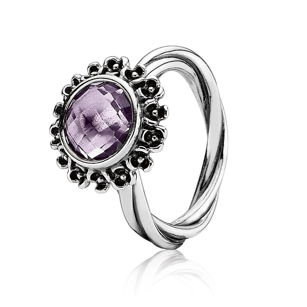 Pandora Sterling Silver and Amethyst Ring, Purple